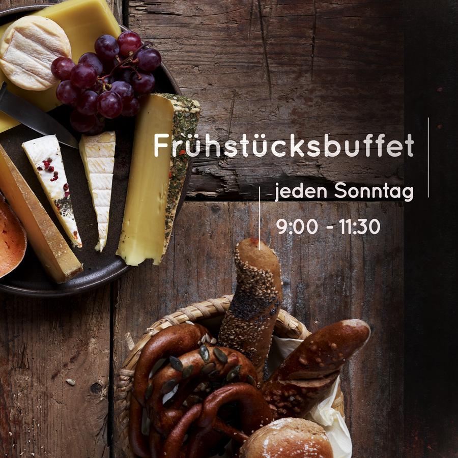 Frühstücksbuffet - Brotkorb und Käseteller