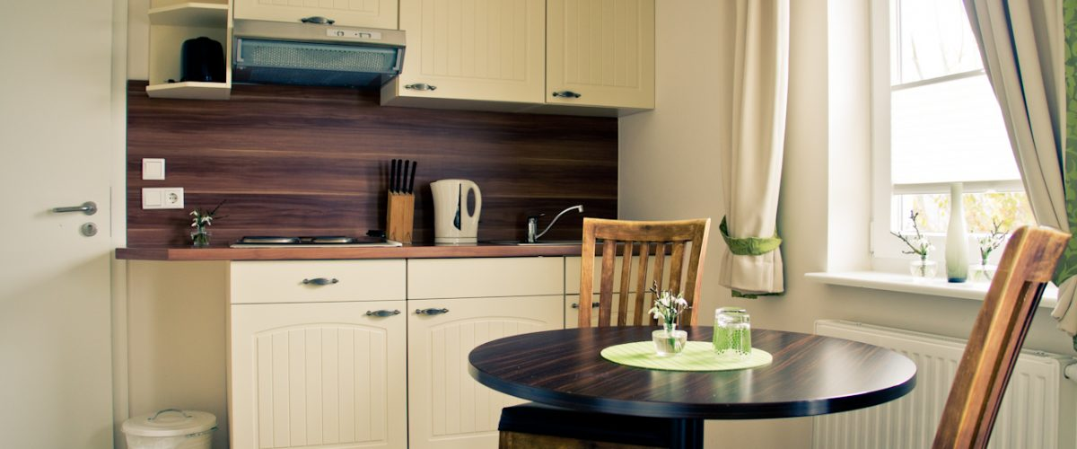 Küche eines Appartements in Hotel Fauna